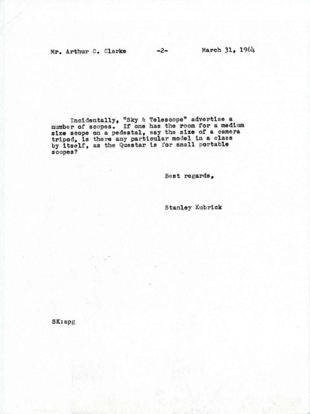 Letter from Stanley Kubrick to Arthur C. Clarke