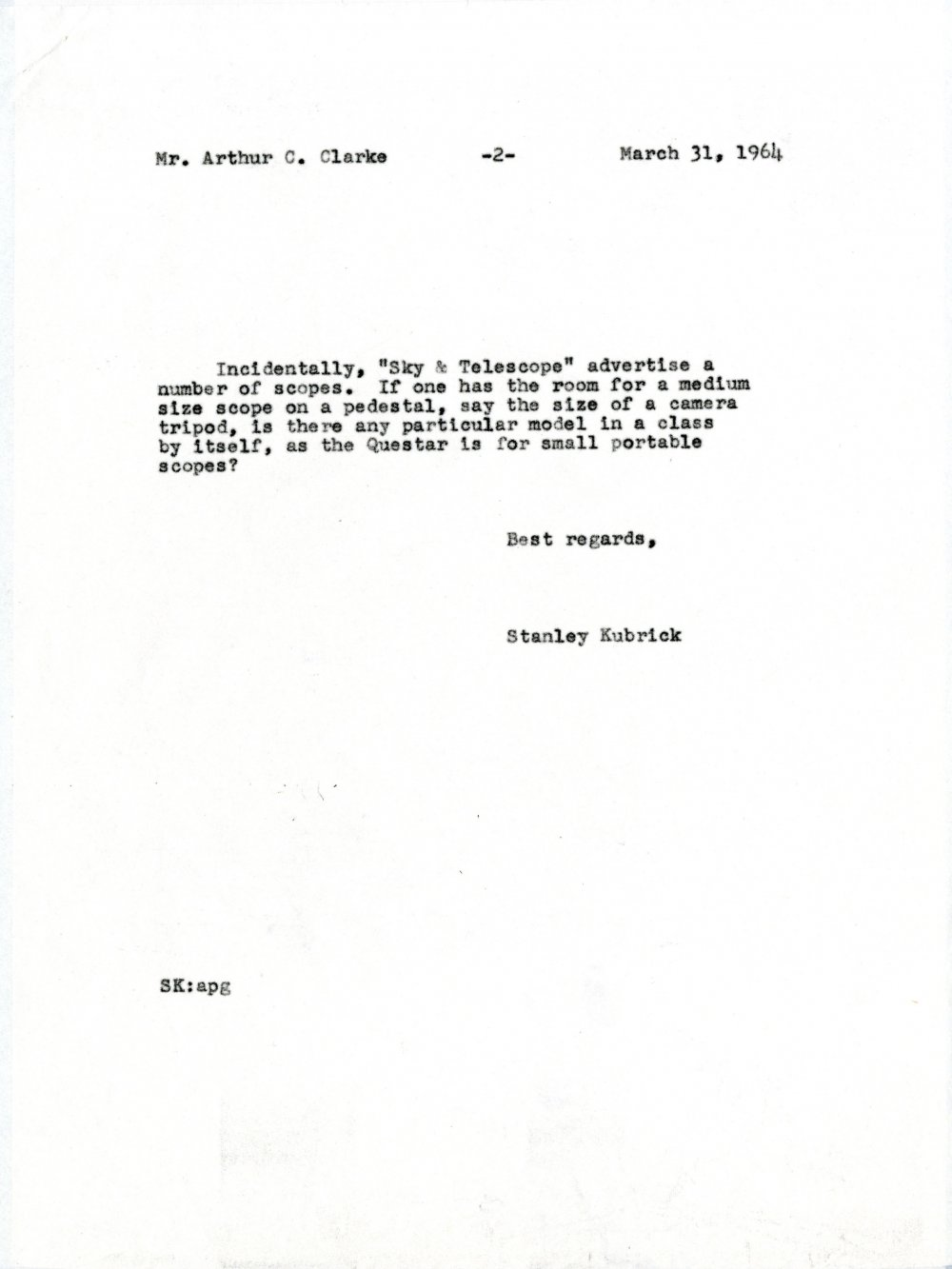 Letter from Stanley Kubrick to Arthur C. Clarke