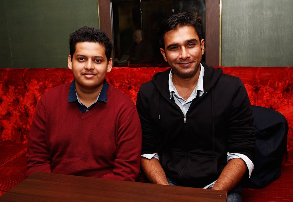 Director and screenwriter Chaitanya Tamhane and actor Vivek Gomber attend the Filmmaker Tea during the 58th BFI London Film Festival