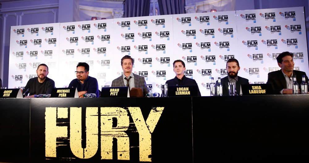 Director David Ayer, actors Michael Pena, Brad Pitt, Logan Lerman, Shia LaBeouf and Jon Bernthal attend the press conference for Fury during the 58th BFI London Film Festival