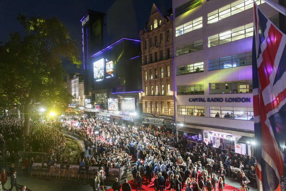The red carpet at the closing gala premiere of Fury at the 58th London Film Festival