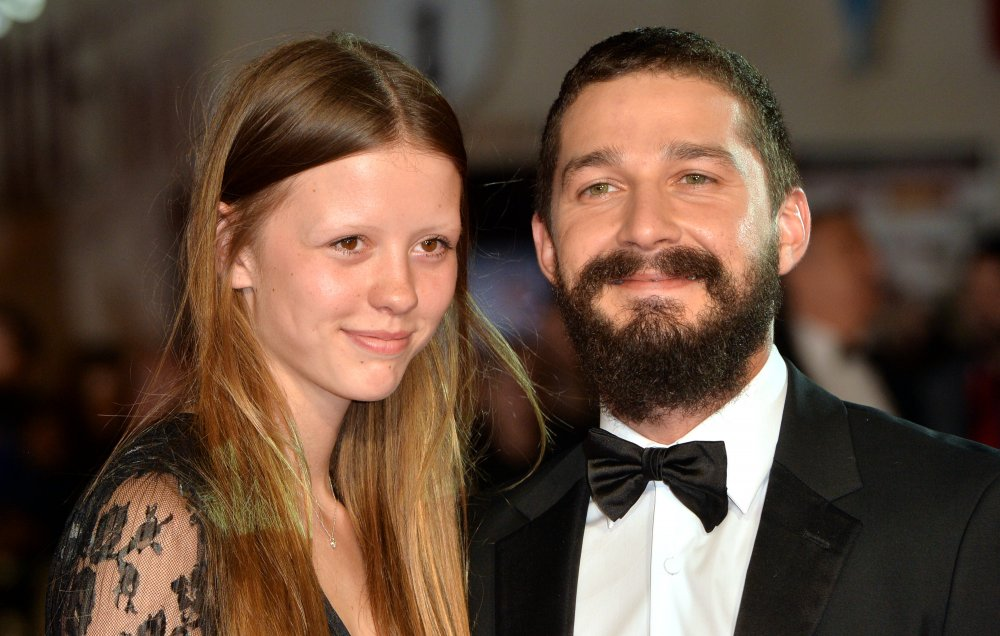 Mia Goth and Shia LeBeouf attend the closing night European Premiere gala red carpet arrivals for Fury during the 58th BFI London Film Festival