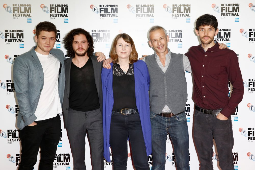 Actors Taron Egerton, Kit Harington, producer Rosie Alison, director James Kent and actor Colin Morgan attend the photocall for Testament of Youth during the 58th BFI London Film Festival