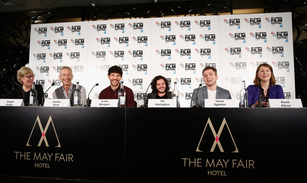 Director James Kent, actors Colin Morgan, Kit Harington, Taron Egerton and producer Rosie Alison attend the press conference for Testament of Youth during the 58th BFI London Film Festival