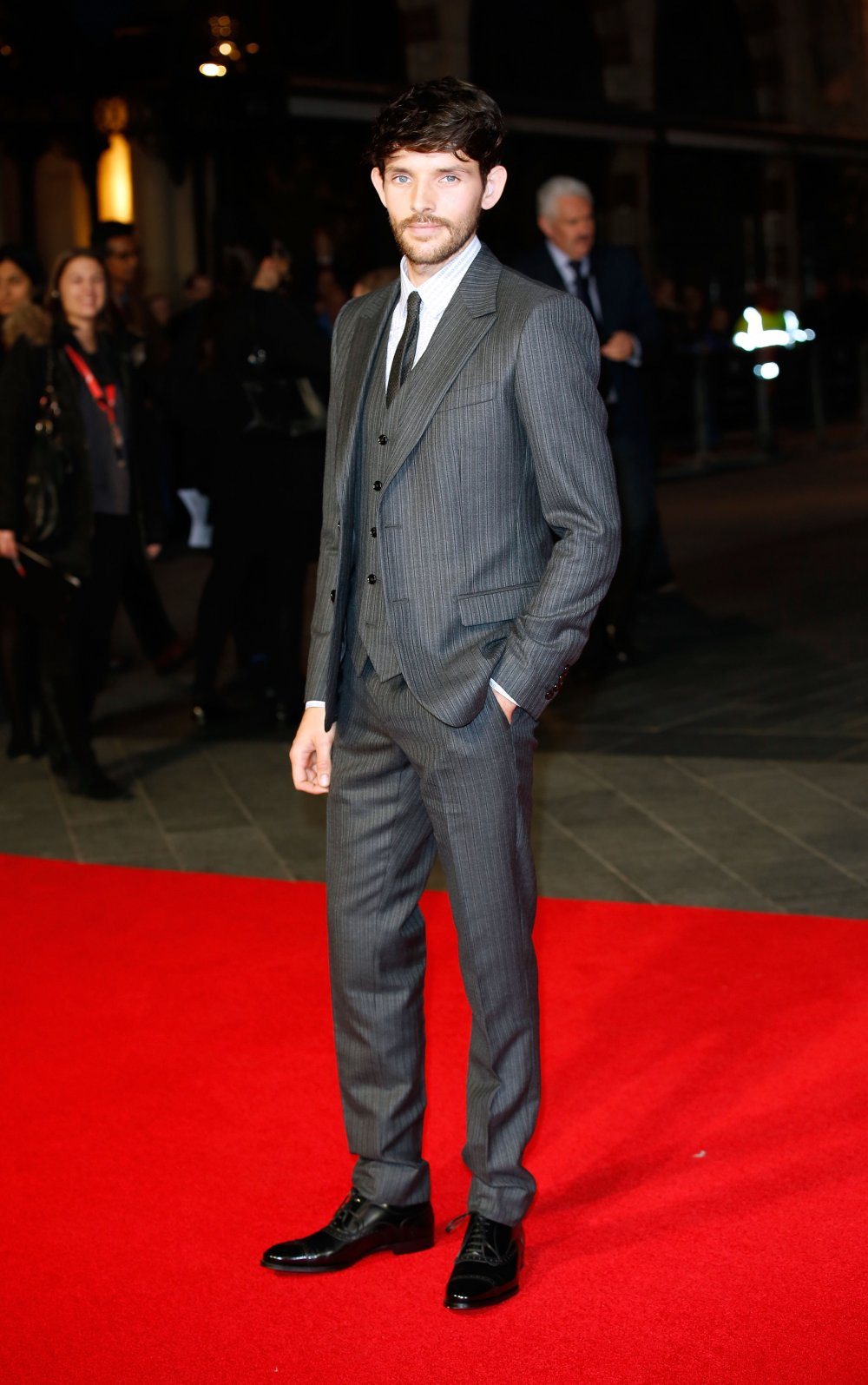 Colin Morgan on the red carpet for Testament of Youth during the 58th BFI London Film Festival