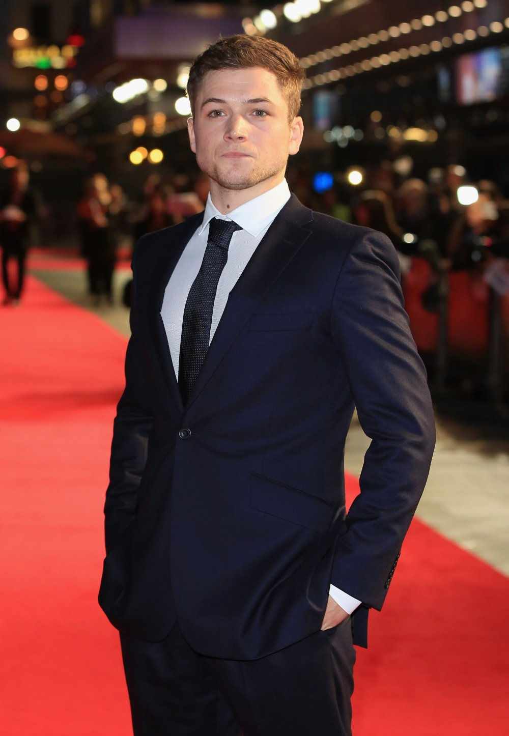 Taron Egerton on the red carpet for Testament of Youth during the 58th BFI London Film Festival