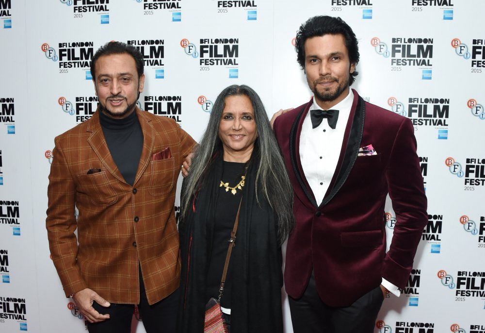 Gulshan Grover, Deepa Mehta and Randeep Hooda attend the premiere of Beeba Boys at Vue Leicester Square