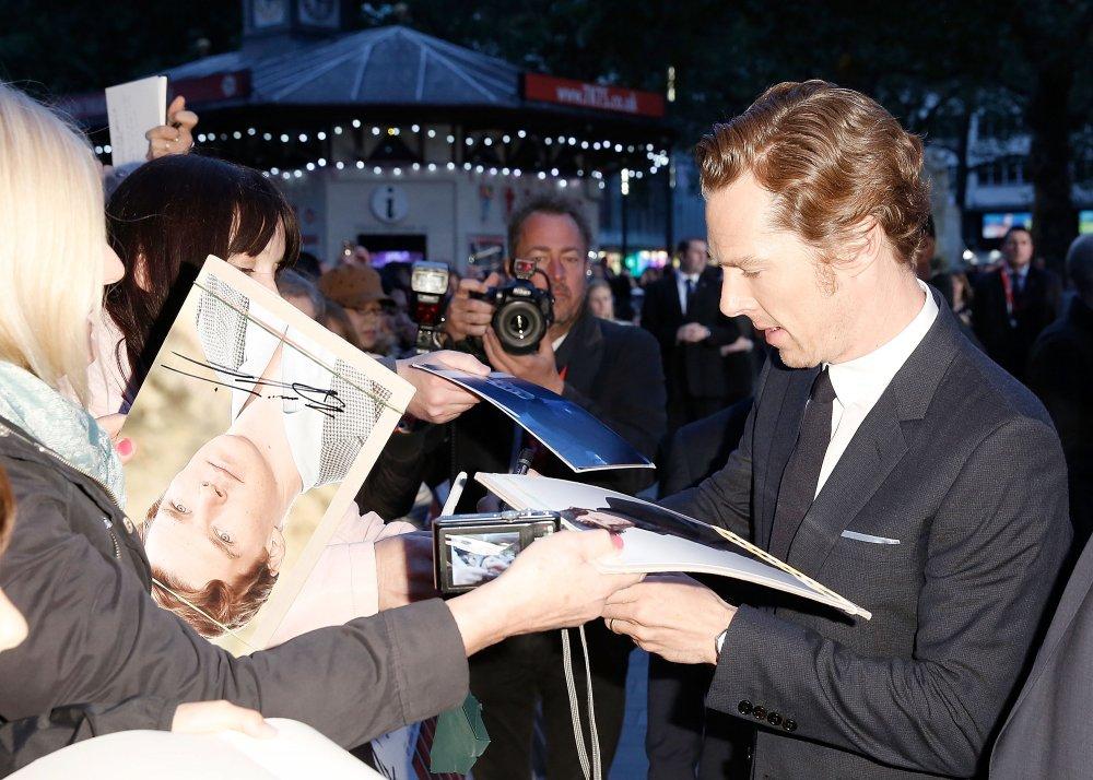Benedict Cumberbatch signs autographs before the Black Mass Virgin Atlantic Gala screening