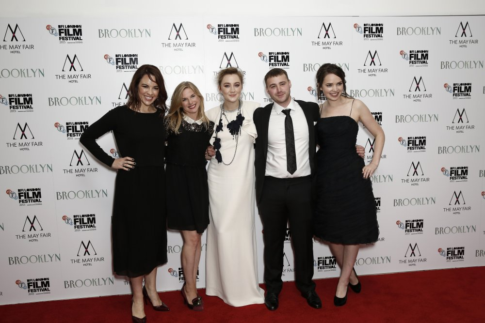 Actors Eve Macklin, Eva Birthistle, Saoirse Ronan, Emory Cohen and Eileen O'Higgins attend the Brooklyn May Fair Hotel Gala