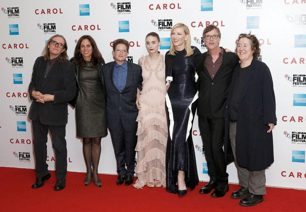 Stephen Woolley, Elizabeth Karlsen, Phyllis Nagy, Rooney Mara, Cate Blanchett, Todd Haynes and Christine Vachon attend the Carol America Express Gala