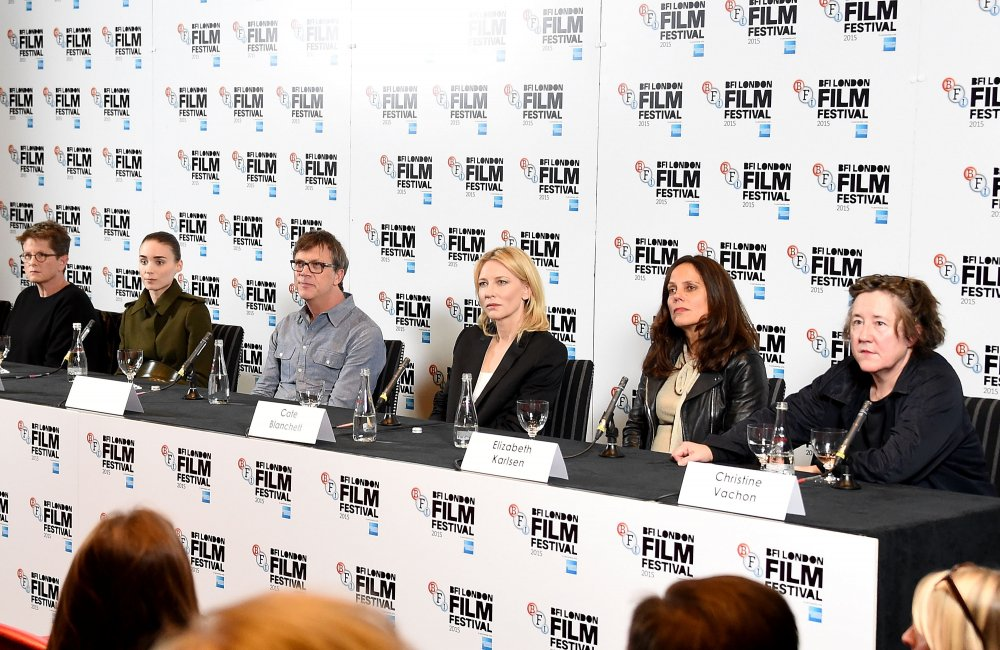 Carol (2015) screenwriter Phyllis Nagy, actor Rooney Mara, director Todd Haynes, actor Cate Blanchett and producers Elizabeth Karlsen and Christine Vachon at a London Film Festival press conference