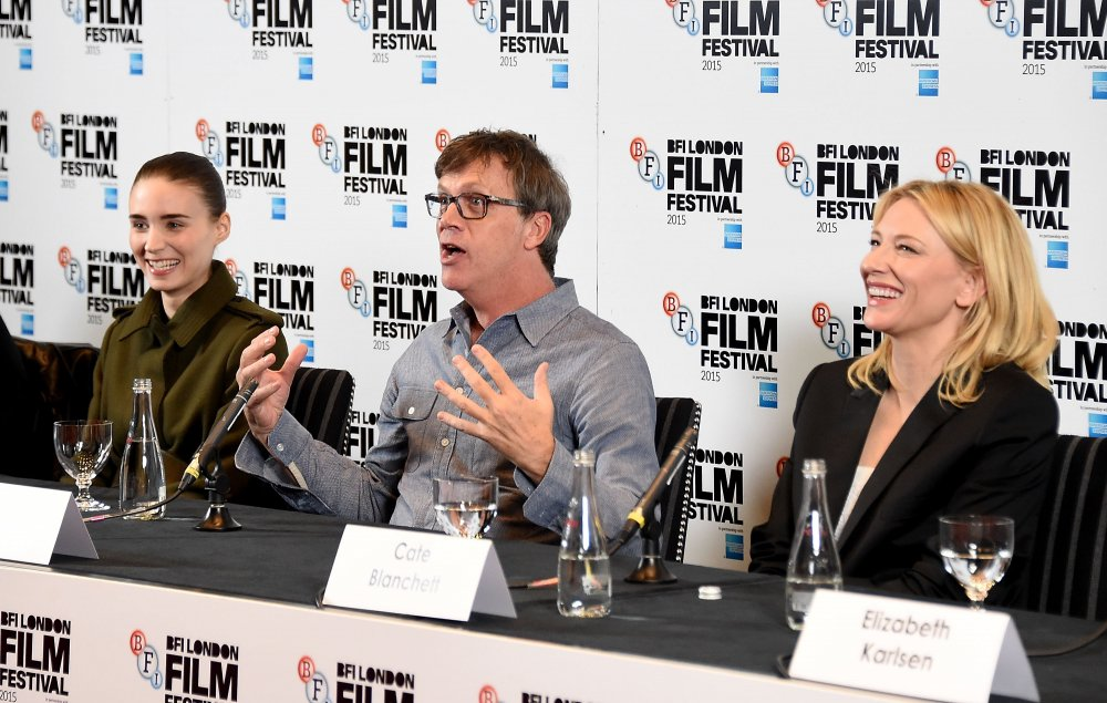 Rooney Mara, Todd Haynes and Cate Blanchett attend the Carol press conference during the BFI London Film Festival