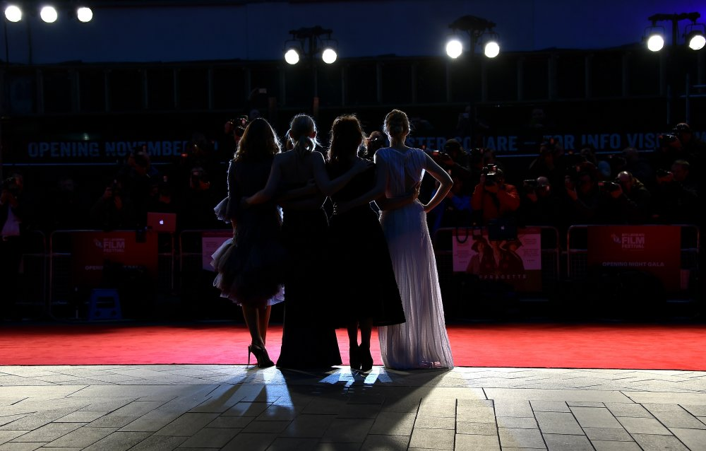 Actors Carey Mulligan, Anne Marie Duff, Helena Bonham Carter and Romola Garai attend the Suffragette premiere at the Opening Night Gala during the 59th BFI London Film Festival