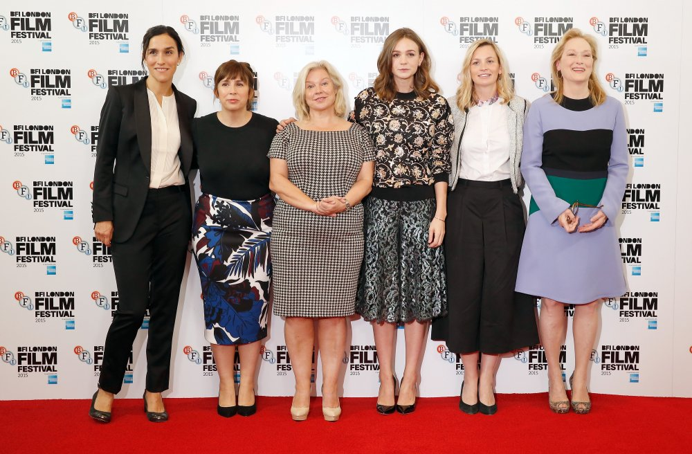 Director Sarah Gavron, scriptwriter Abi Morgan, producer Alison Owen, actress Carey Mulligan, producer Faye Ward and actress Meryl Streep attend the Suffragette photocall during the BFI London Film Festival