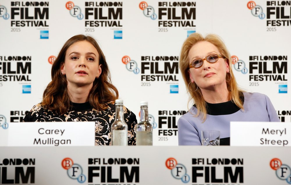 Carey Mulligan and Meryl Streep attend the Suffragette press conference during the BFI London Film Festival
