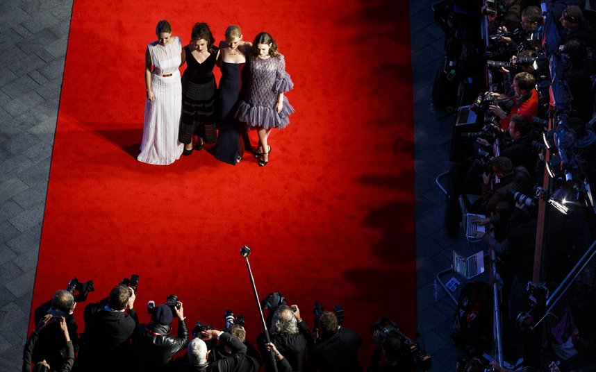 Actors Romola Garai, Helena Bonham Carter, Anne Marie Duff and Carey Mulligan attend the Suffragette premiere at the Opening Night Gala during the 59th BFI London Film Festival