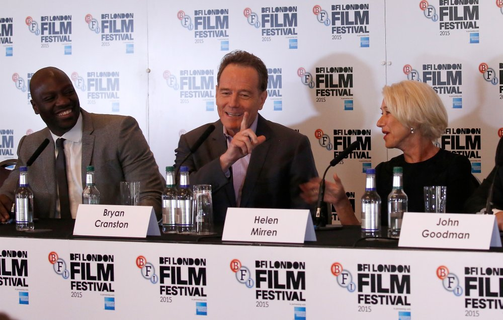 Actors Adewale Akinnuoye-Agbaje, Bryan Cranston and Helen Mirren attend the Trumbo press conference during the BFI London Film Festival