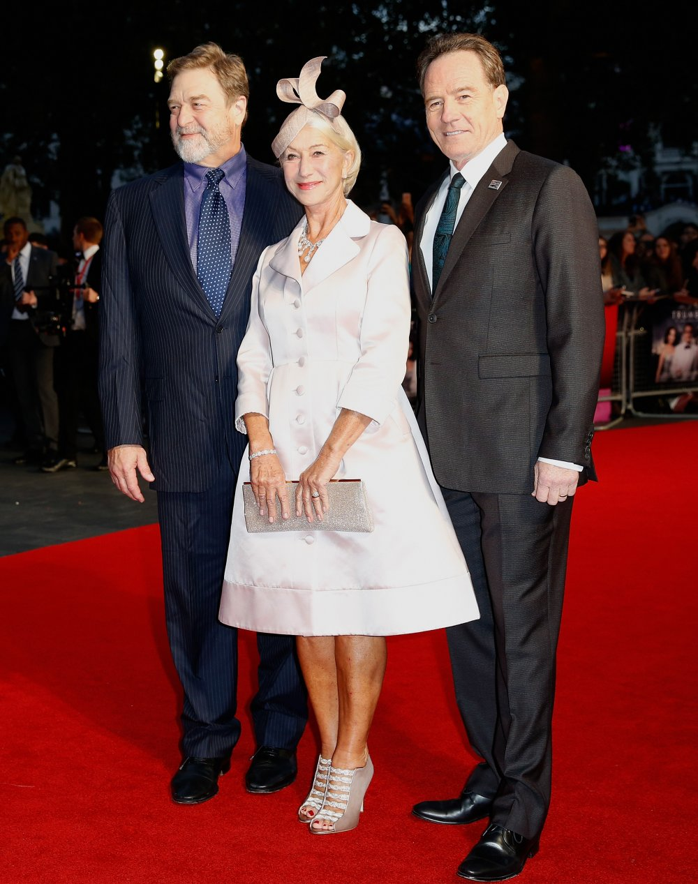 Actors John Goodman, Helen Mirren and Bryan Cranston attend the Trumbo premiere during the BFI London Film Festival at the Odeon Leicester Square