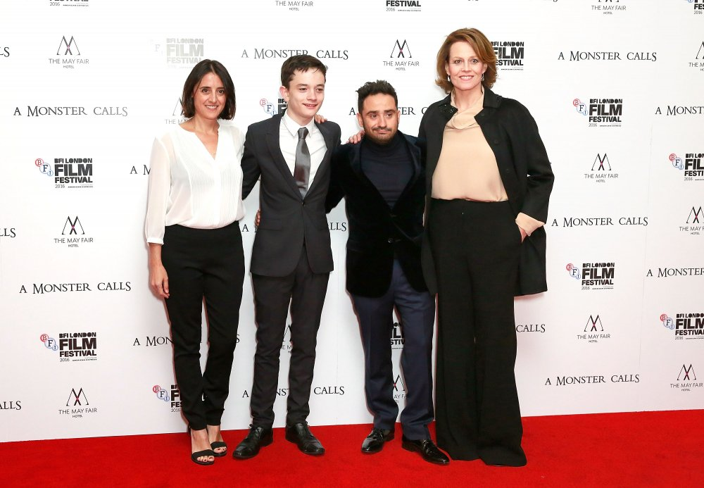 Belen Atienza, Lewis MacDougall, J.A. Bayona and Sigourney Weaver at the premiere of A Monster Calls