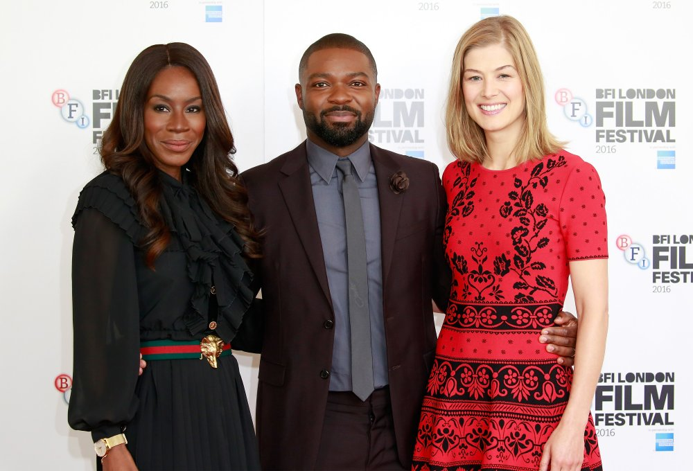 Director Amma Asante and actors David Oyelowo and Rosamund Pike attend the A United Kingdom photocall during the 60th BFI London Film Festival