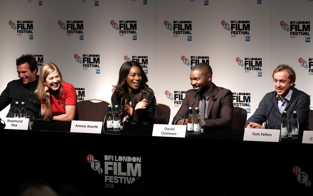 Actors Jack Davenport, Rosamund Pike, director Amma Asante and actors David Oyelowo and Tom Felton attend the A United Kingdom press conference during the 60th BFI London Film Festival