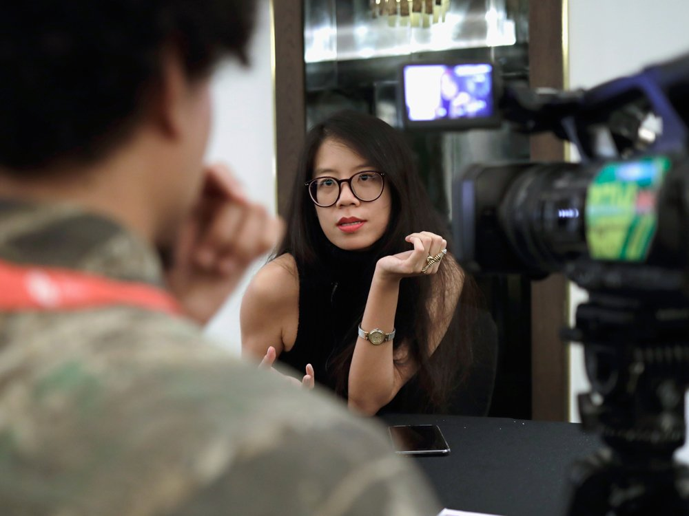 Director Jenny Suen being interviewed at LFF 2017 about her film The White Girl (2017).