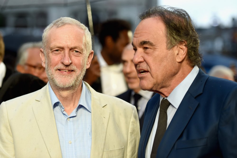 Jeremy Corbyn and director Oliver Stone attend the Snowden Headline Gala screening during the 60th BFI London Film Festival