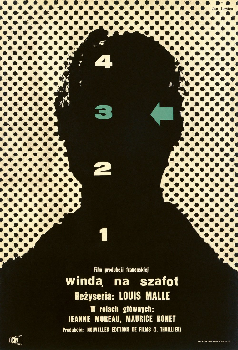 <strong>Lift to the Scaffold (1958) poster. Jan Lenica, Poland. </strong>Jan Lenica's poster for Lift to the Scaffold – known in Poland as Winda na Szafot – shows a stark silhouette against a dotted background. But who is it? 'It could be Jeanne Moreau or another character,' says Nourmand, 'and those numbers down the middle refer, of course, to the numbers of the lift. The character gets stuck on the third floor.' In some cases, designers would have seen the film and been invited to respond to it visually. 'In other cases they were just given a press kit with stills and assets that they could use. They would have a synopsis, details of who was in it, stills from the movie.'