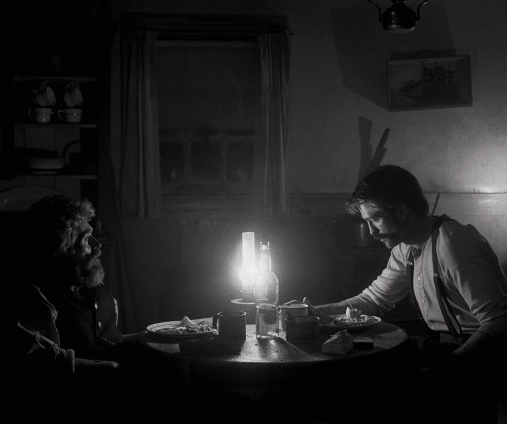 Willem Dafoe as Ephraim Winslow and Robert Pattinson as Thomas Howard aka 'Thomas Wake' in The Lighthouse