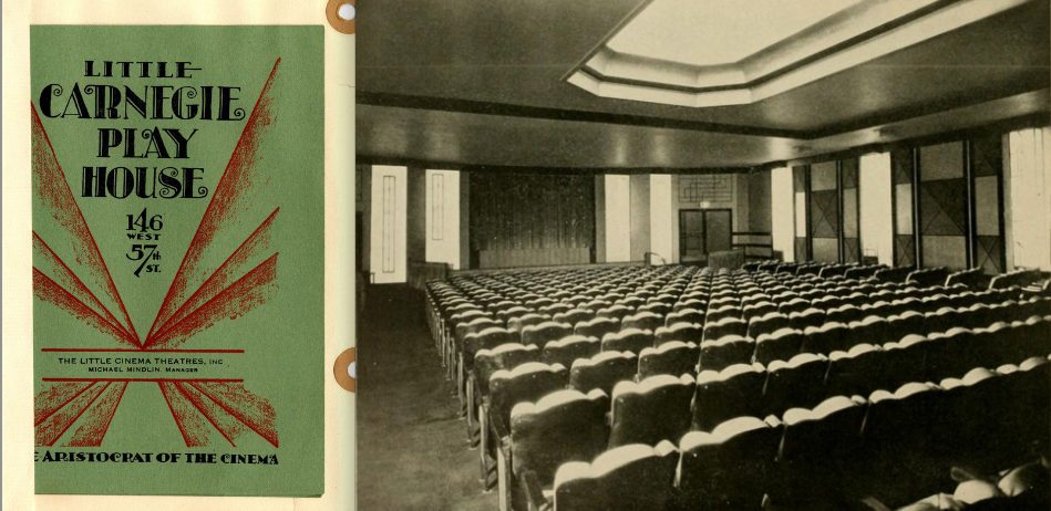 "A photo and programme from the Little Carnegie Playhouse, one of the first arthouse cinemas in Manhattan and what Hurst called a ""Little Motion Picture Theatre"""