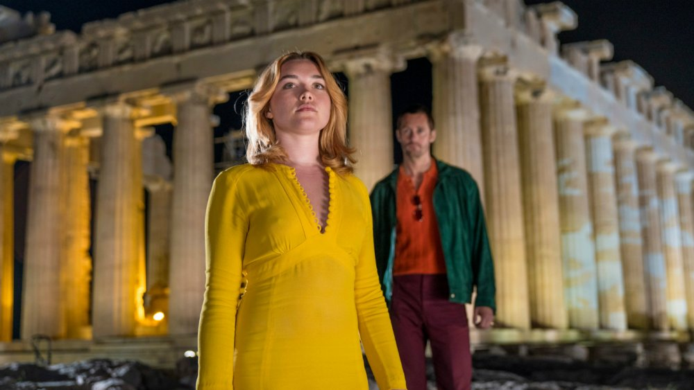 Florence Pugh as Charlie and Alexander Skårsgard as Becker in the BBC's The Little Drummer Girl