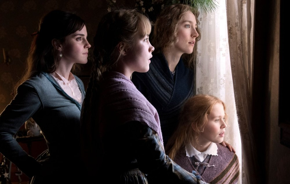 Emma Watson as Meg March, Florence Pugh as Amy, Saoirse Ronan as Jo and Eliza Scanlen as Beth in Little Women