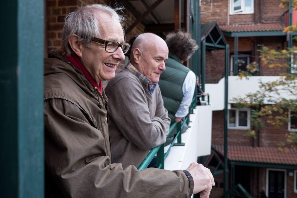 Ken Loach and Dave Johns on location for I, Daniel Blake (2016)
