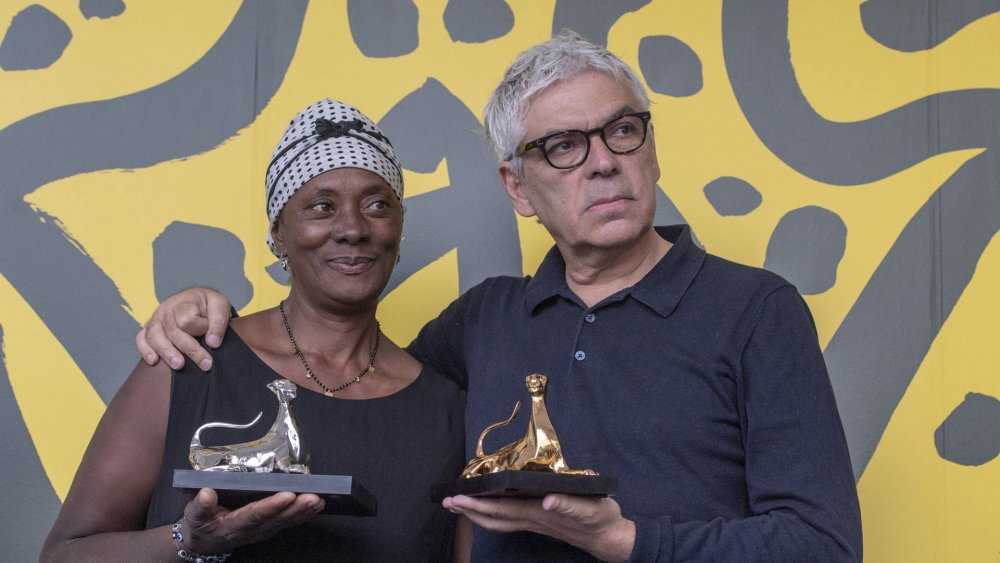 Vitalina Varela and Pedro Costa with their awards at the 2019 Locarno Film Festival