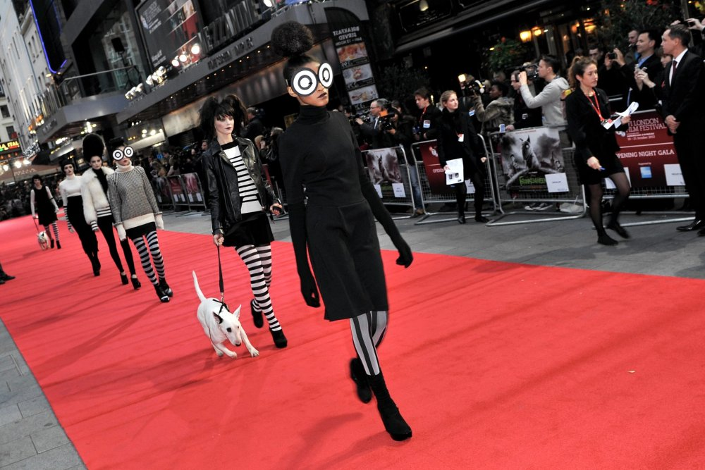Frankenweenie-themed models on the festival's opening-night red carpet