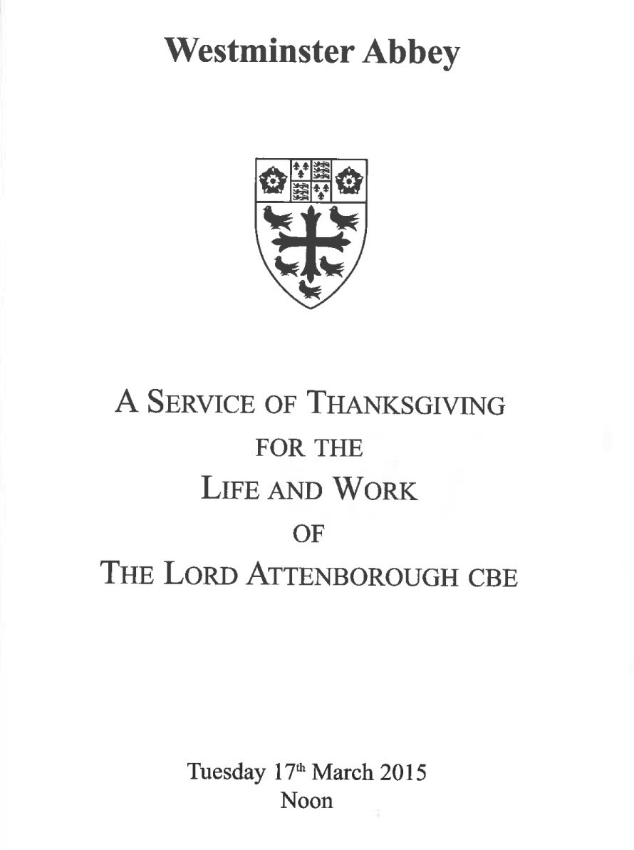 Lord Attenborough thanksgiving service programme cover