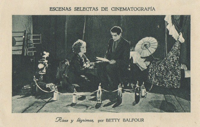 Love, Life and Laughter (1923): Spanish promotional postcard card. In Spain the film went by the title Risas y lagrimas (Laughter and Tears)