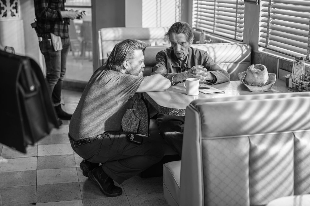 Logan Sparks and Harry Dean Stanton filming Lucky