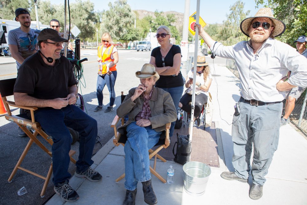 John Carroll Lynch, Harry Dean Stanton and Logan Sparks on the set of Lucky