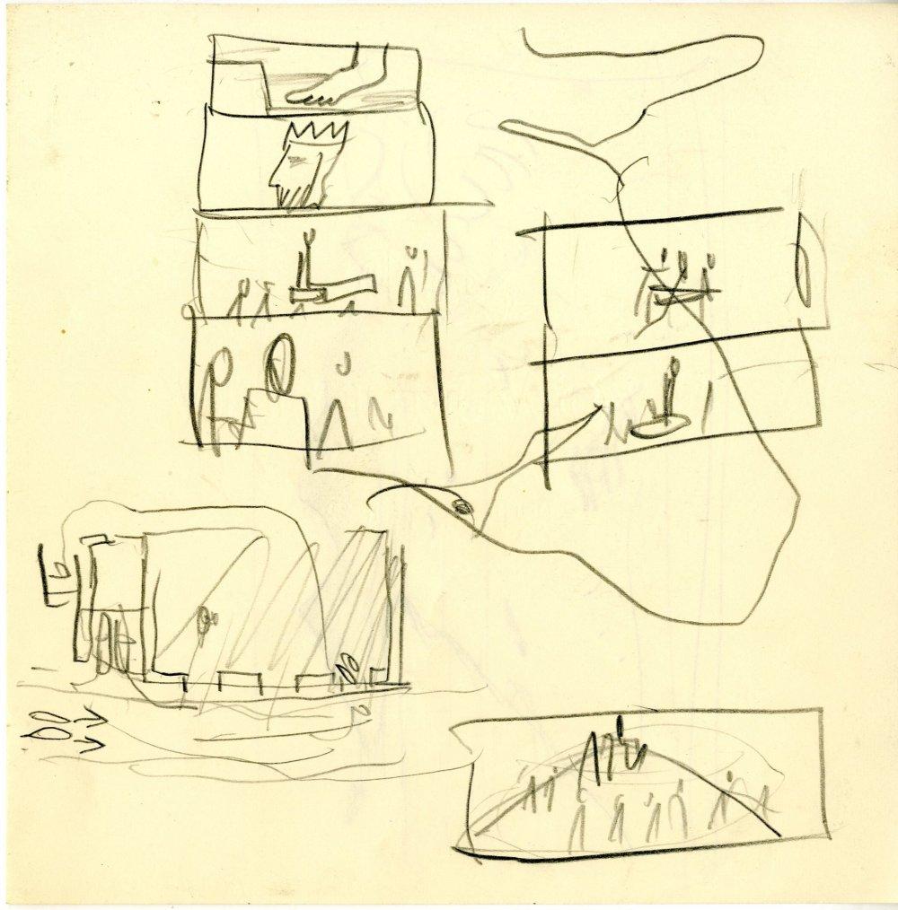 Pre-production pencil sketches for Roman Polanski's Macbeth