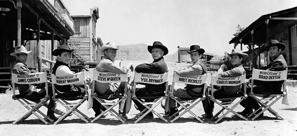 Cast on the set of The Magnificent Seven (1960)