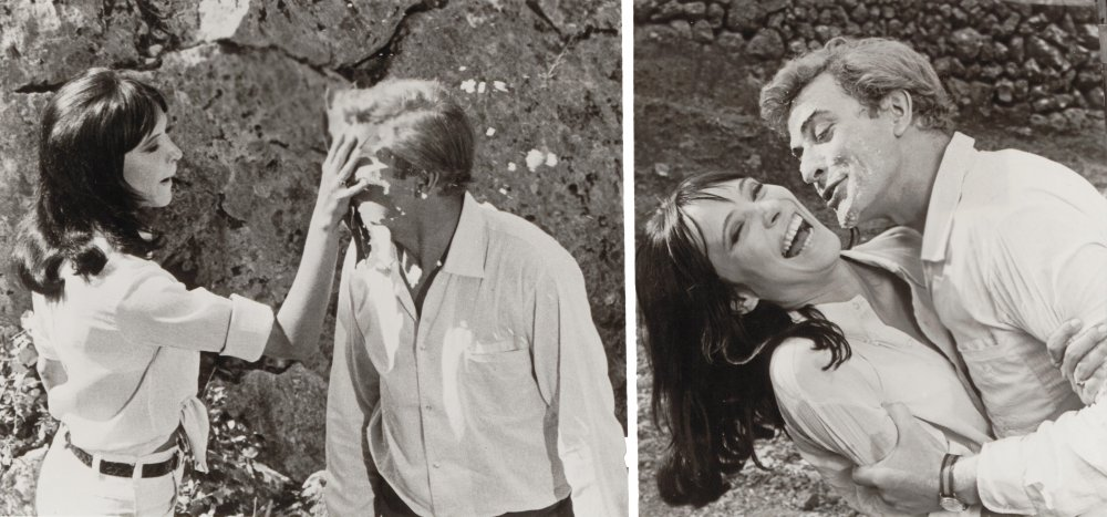 Karina delivers a custard pie to Michael Caine in The Magus (1968)