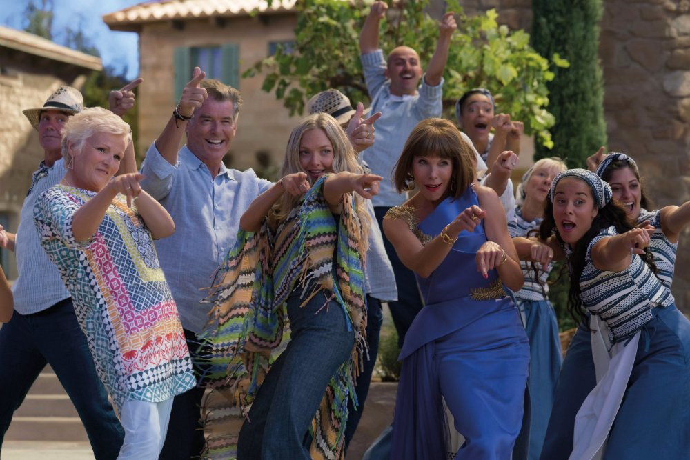 Julie Walters as Rosie, Pierce Brosnan as Sam, Amanda Seyfried as Sophie, Christine Baranski as Tanya and more in Mamma Mia: Here We Go Again!
