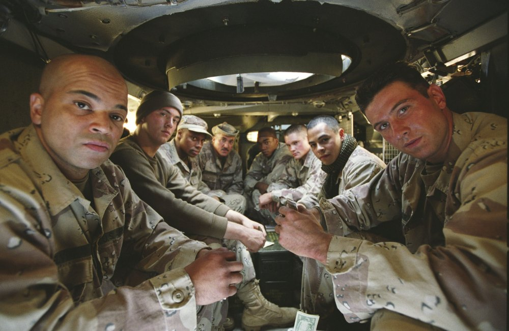 Jeffrey Wright (left) and fellow soldiers from Shaw's platoon