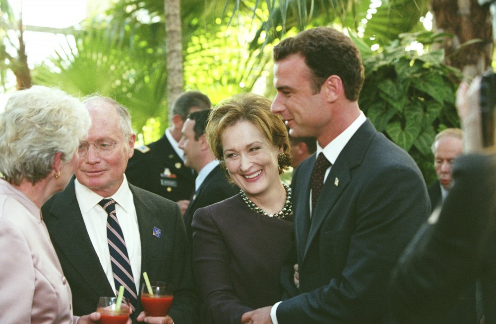 Meryl Streep and Liev Schrieber as war hero and vice presidential candidate Raymond Shaw