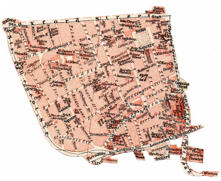 Map of Soho in 1914, the world of Chaplin's Footlights story