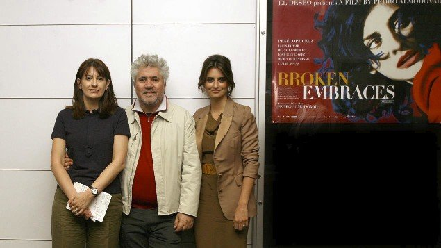 Maria Delgado with Pedro Almodóvar and Penélope Cruz