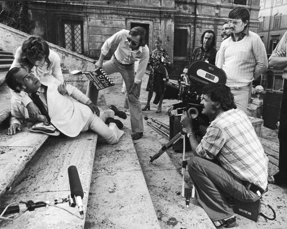 DP Michael Balhaus and director Rainer Werner Fassbinder filming Martha (1974) with Margit Carstensen and Adrian Hoven