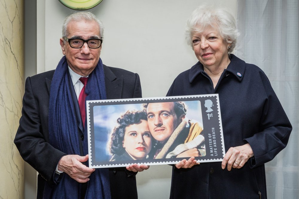 Martin Scorsese and Thelma Schoonmaker with the stamp design for A Matter of Life and Death.