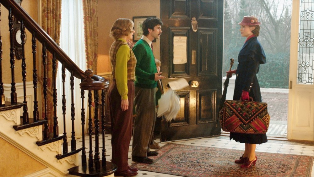 Emily Mortimer as Jane Banks, Ben Whishaw as Michael Banks and Emily Blunt as Mary Poppins in Mary Poppins Returns